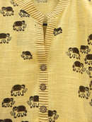 Light Yellow Kurti With Elephant Print - RMFK000300001SYEP