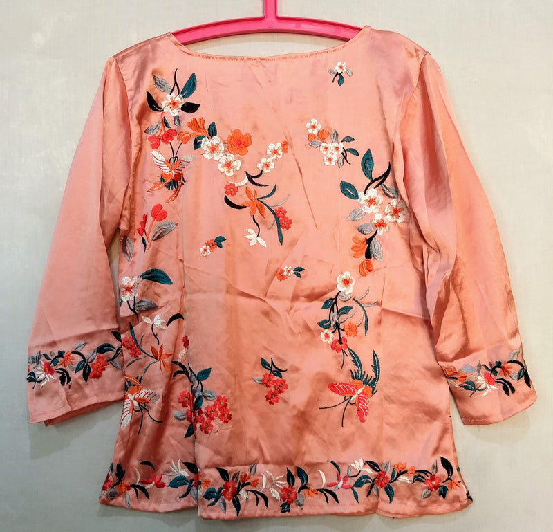 Peach Multi-color Embroidery Top-NT000001PEACH-PINK