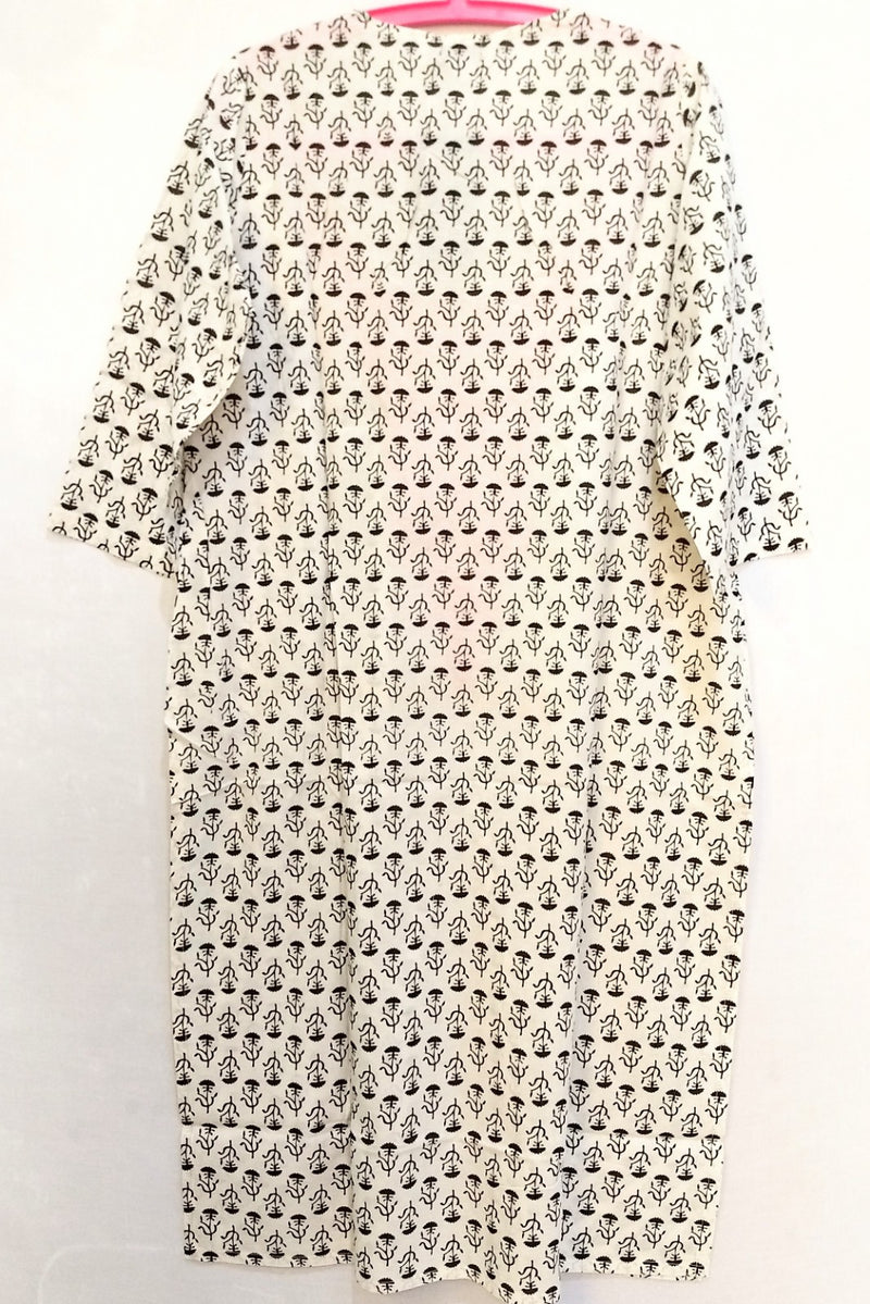 Printed Kurti With Embroidery-NT000051B&W
