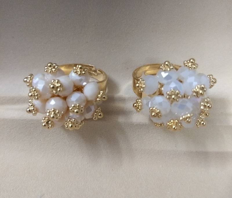 Free Size Ring for Women White with Golden Work