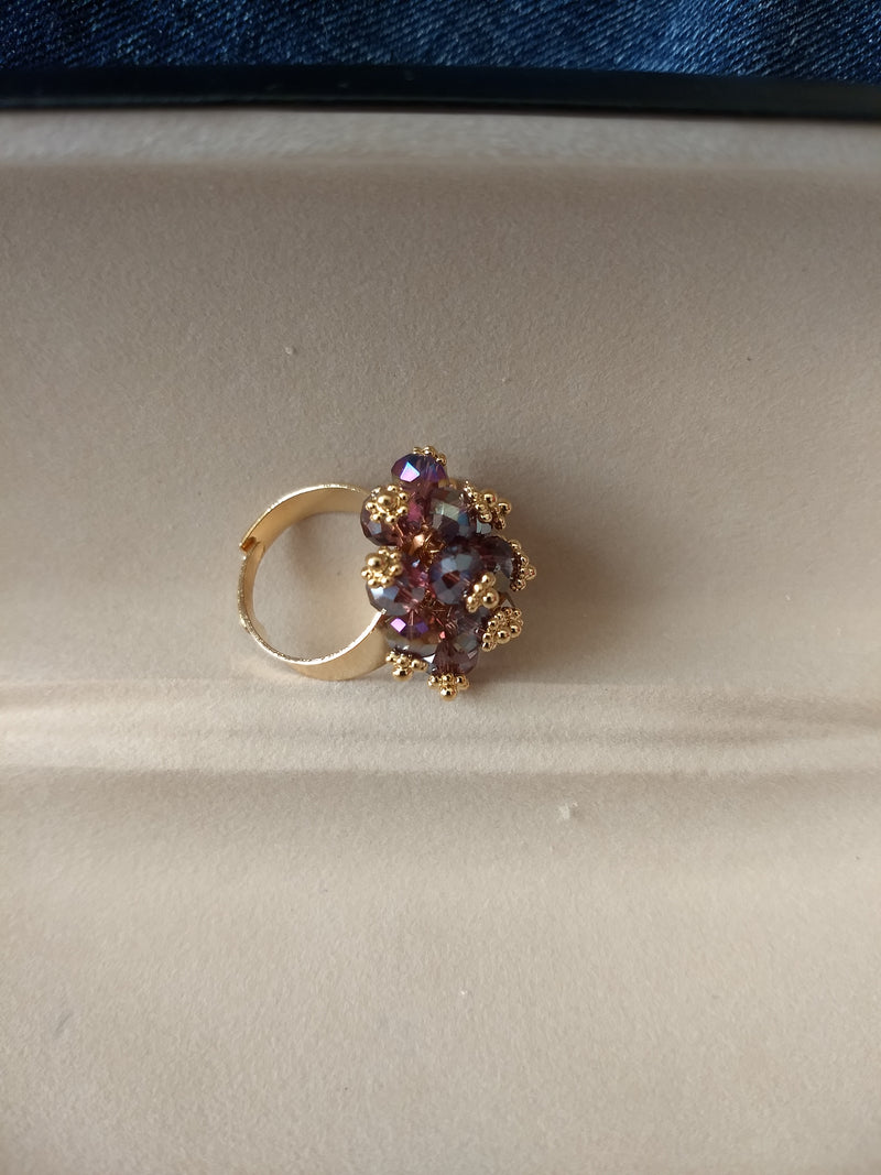 Wine Color Gold Plated Ring