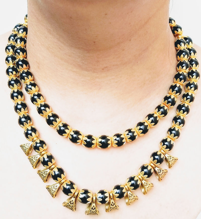 Double Layered Fabulous Black Necklace
