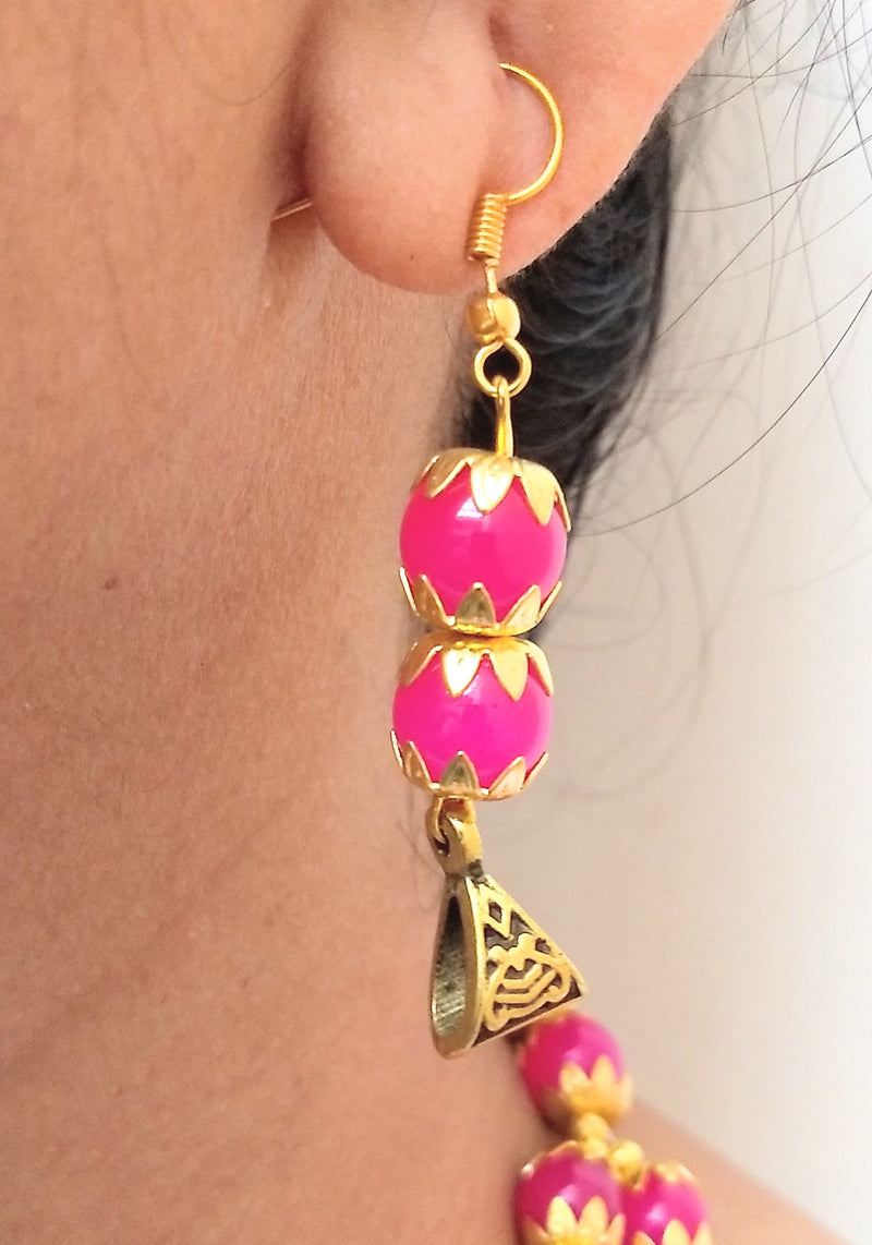 Shocking Pink Two Layer Necklace