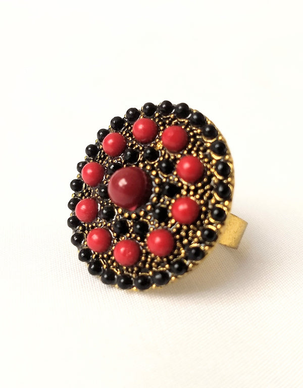 Red & Black Trendy Adjustable Ring