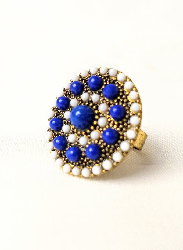 Blue & White Adjustable Ring