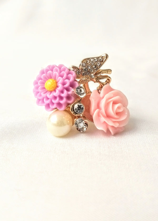 Pink & Violet Flower Adjustable Finger Ring