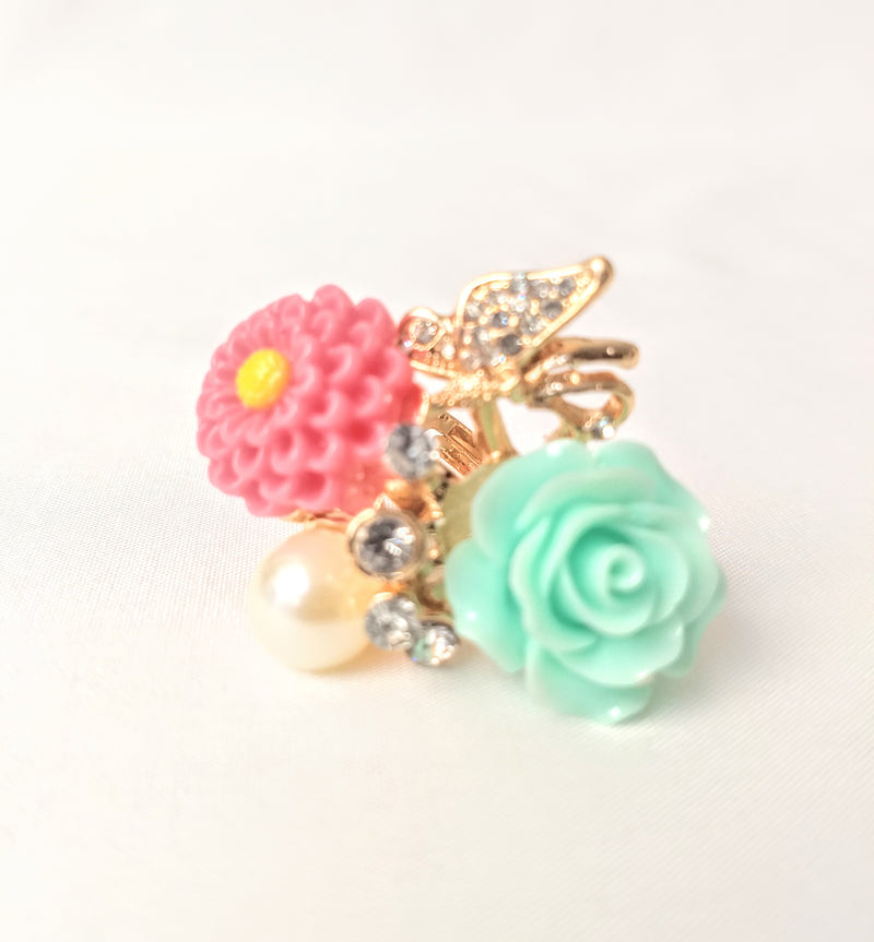 Party Wear Pink & Light Green Adjustable Ring