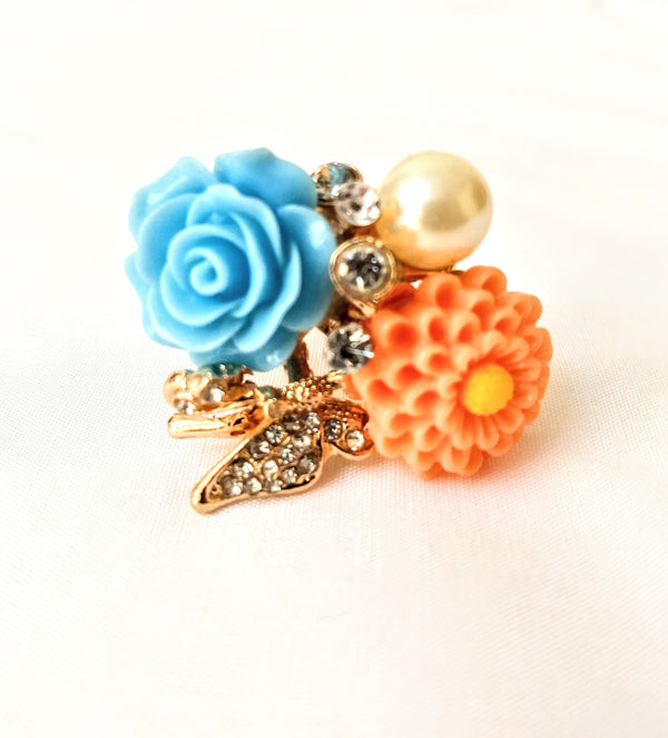 Light Orange & Light Green Flower Ring