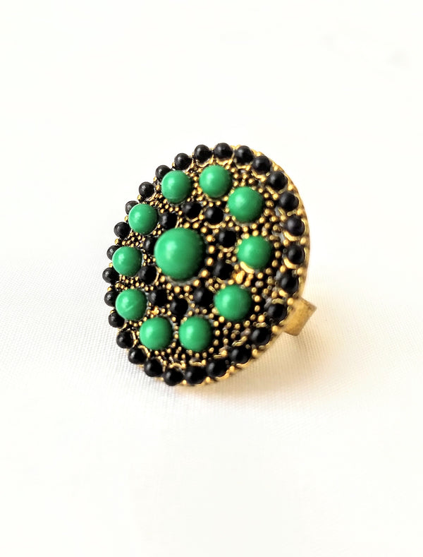 Green & Black Gold Plated Adjustable Casual Ring