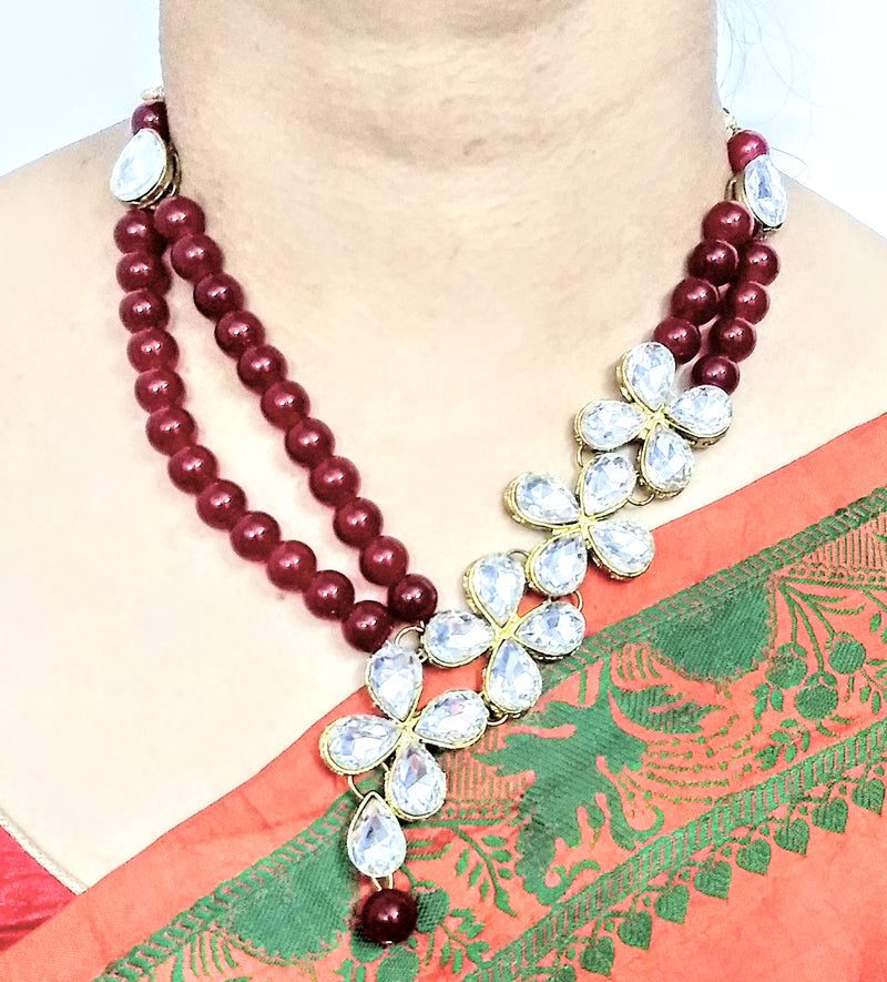 Urban Red Beads Necklace for Girls