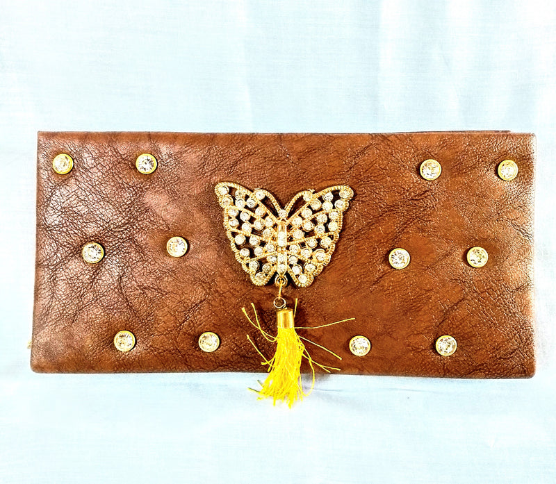 Brown Butterfly Women Clutch Wallet