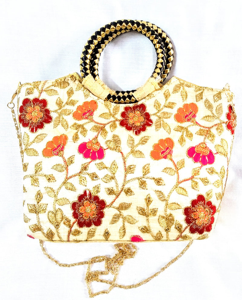 Embroidery Golden Sling Bag For Young Girls
