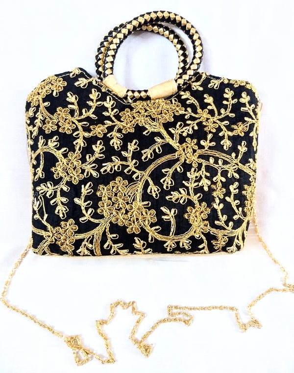 Embroidery Golden Sling Bag / Purse For Young Girls
