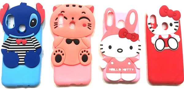 Cute Cartoon Hello Kitty Silicone with Pendant Back Case Cover for Samsung Galaxy M20 - AHFK008300010FKSSM20C
