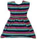 Blue Base With Horizontal Multi color Lines Dress ( Age 2-7 Years ) - NT00001NBHBLUE