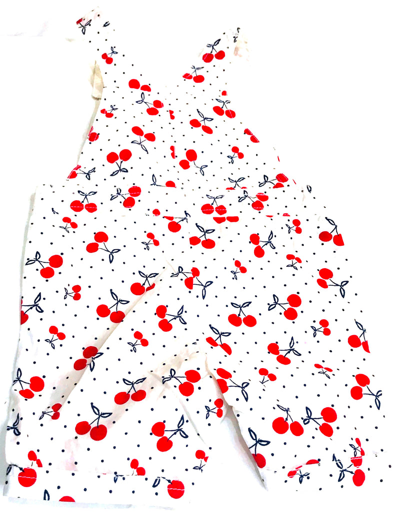 White With Red Cherry Print Kids ( 1-2 Years ) Romper - NT00001D&DWRCJ