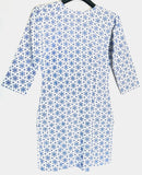 Short Kurti Blue & White Full Sleeves - WBS00021BWFSK