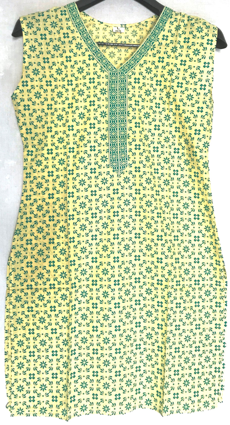 Short Kurti ellow & Green Cut Sleeve - WBS00029GYCSK