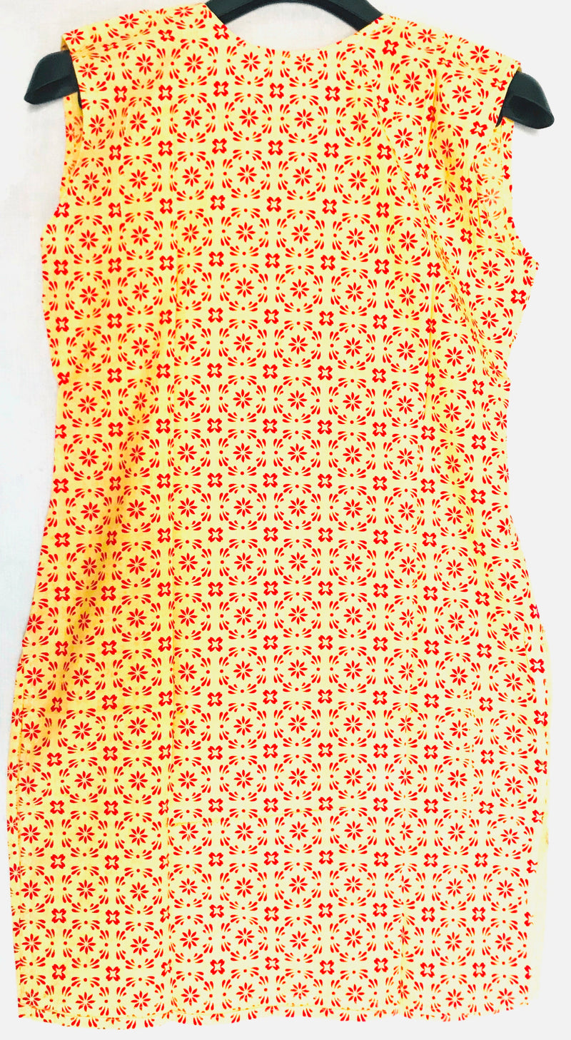 Short Kurti Yellow & Red Cut Sleeves - WSB00029RYCSK