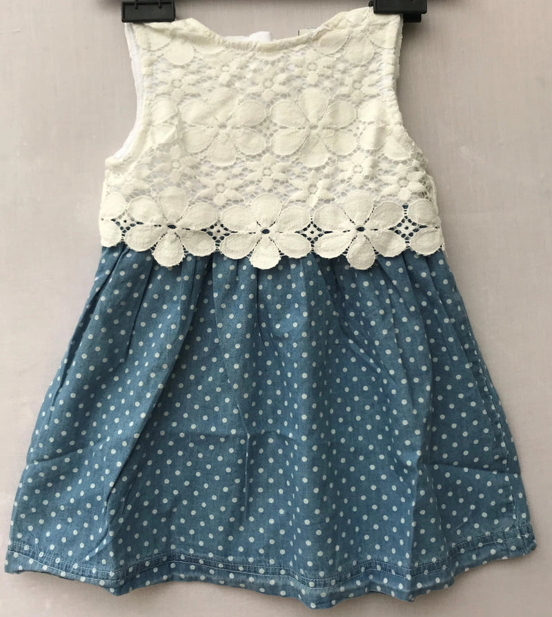 White & Blue Combination Dress For Kids (6 Months to 2 Years) - NT00001WBWHITE