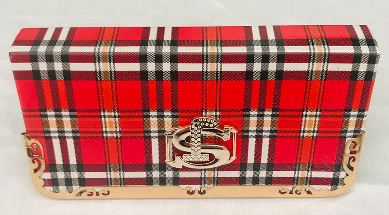 Women's/Girls's Red Color With Checks Clutch - YB00084YRWBC