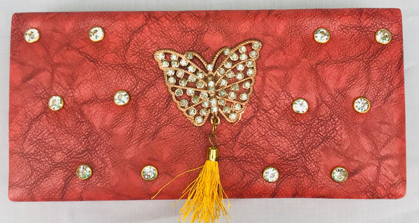 Dark Pink Color With Butterfly Brooch Clutch - YB00098DPBBD