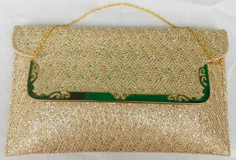 Golden Sparkel Olive Shade Clutch With Sling - YB00811GSOSCS