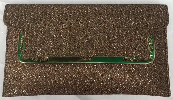 Brown With Golden Sparkel Clutch With Sling - YB00811BGSCS