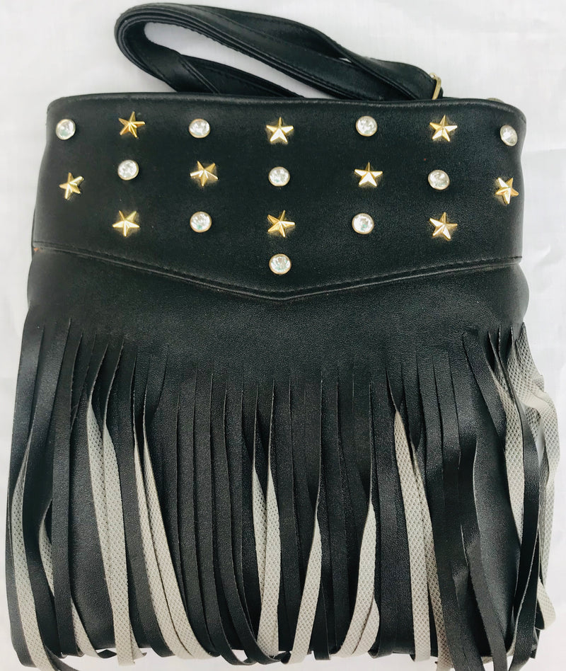 Black Color Diamond & Star Studded Handbag YB000591BDSSH