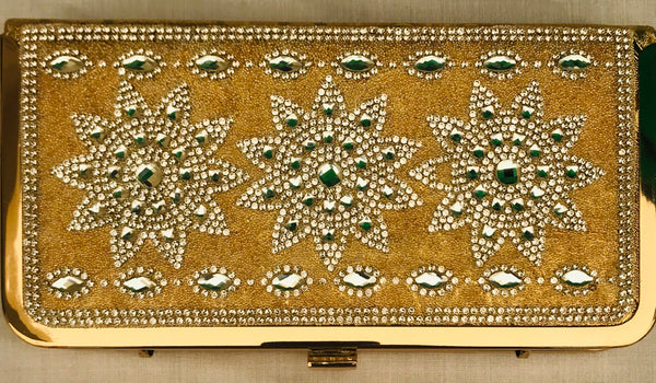 Golden Diamond Studded Three Flowers For Bridals, Party, Wedding Clutch With Sling & Handle - YB00702GDSFC