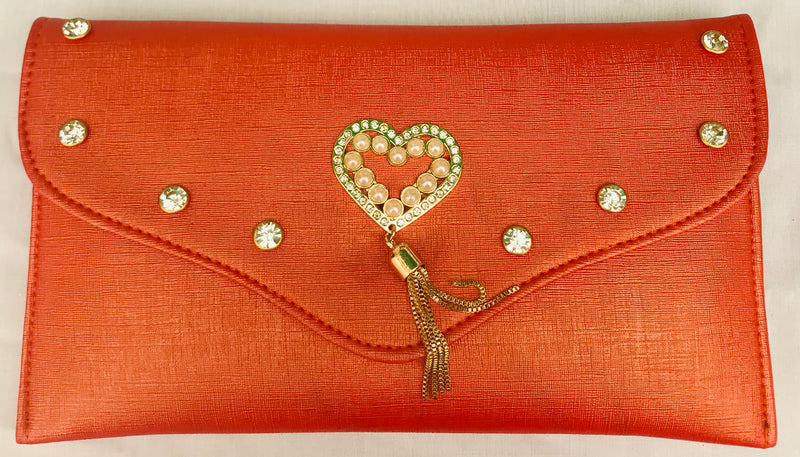 Orange Diamond Studded With Heart Brooch Clutch With Sling - YB00951ODSHH