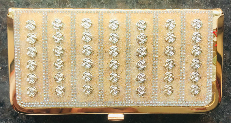 Golden Diamond Studded For Bridal,Party,Wedding Clutch With Sling & Handle - YB00702GSMFC