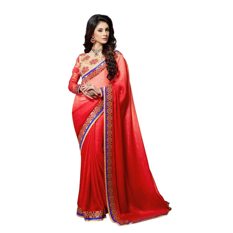Georgette Fabric Orange Color Saree with Blouse