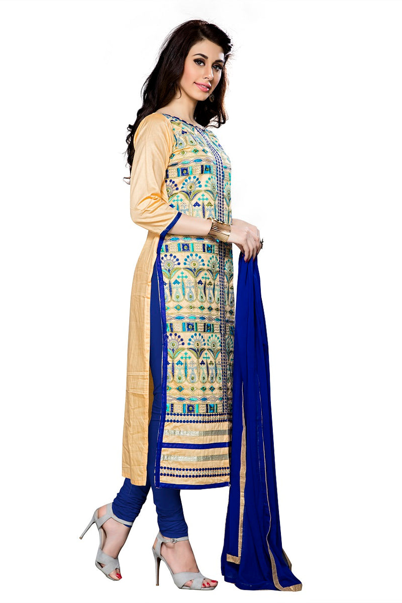 Women's Beige Cotton Unstitched Embroidered Dress material