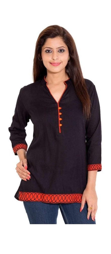 Rayon Solid Black Beautiful Kurti