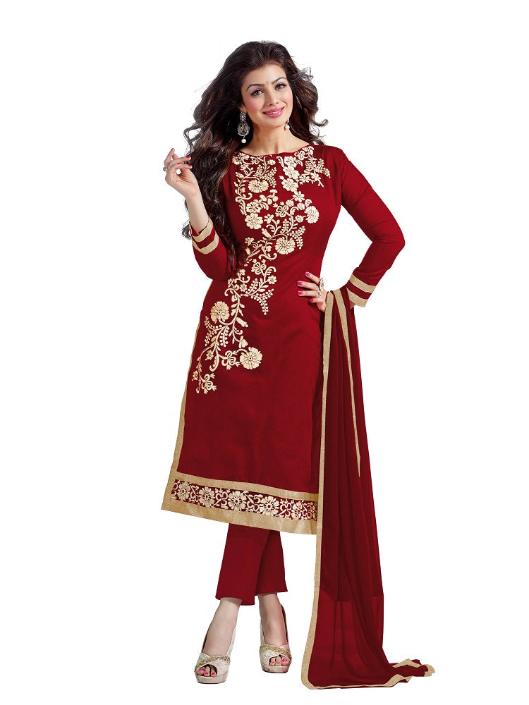 Women's Maroon Chanderi Embroidered Dress Material