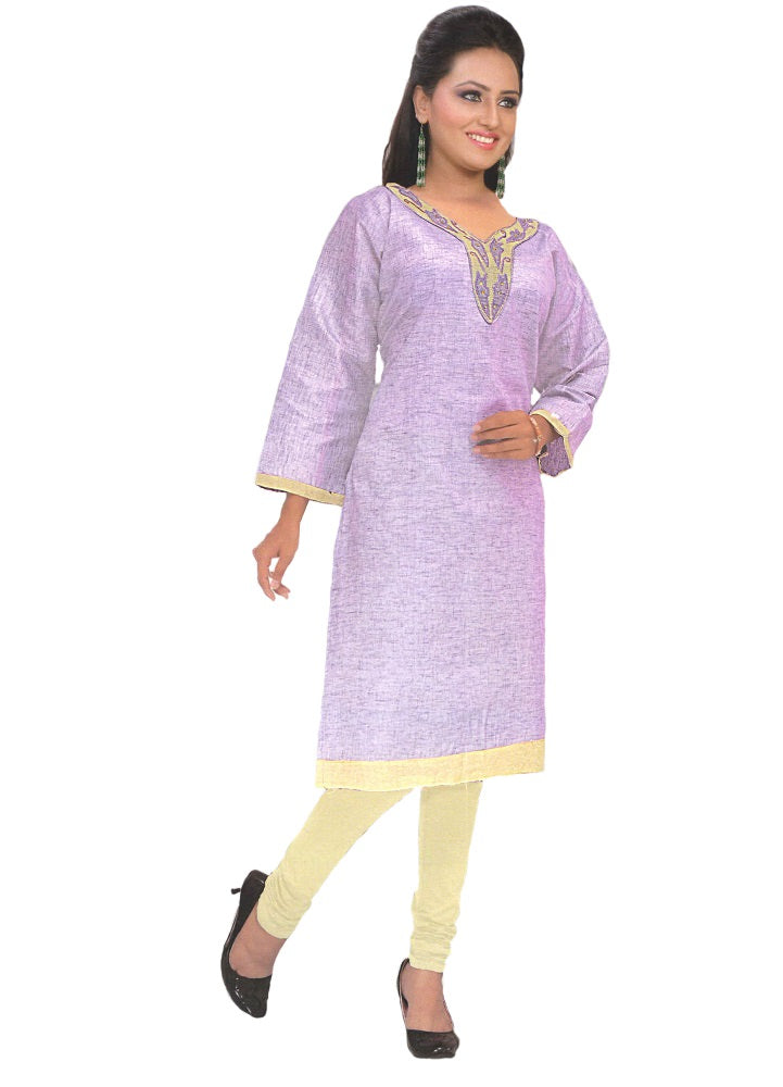 Purple Designer Embroidered Neck Women's  Kurta