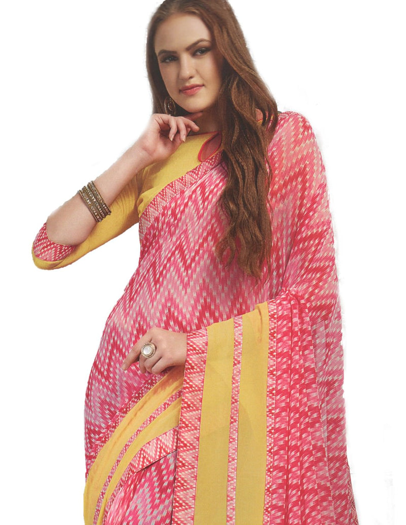 Georgette Digital Printed Saree With Blouse  Pink With Yellow Color Saree