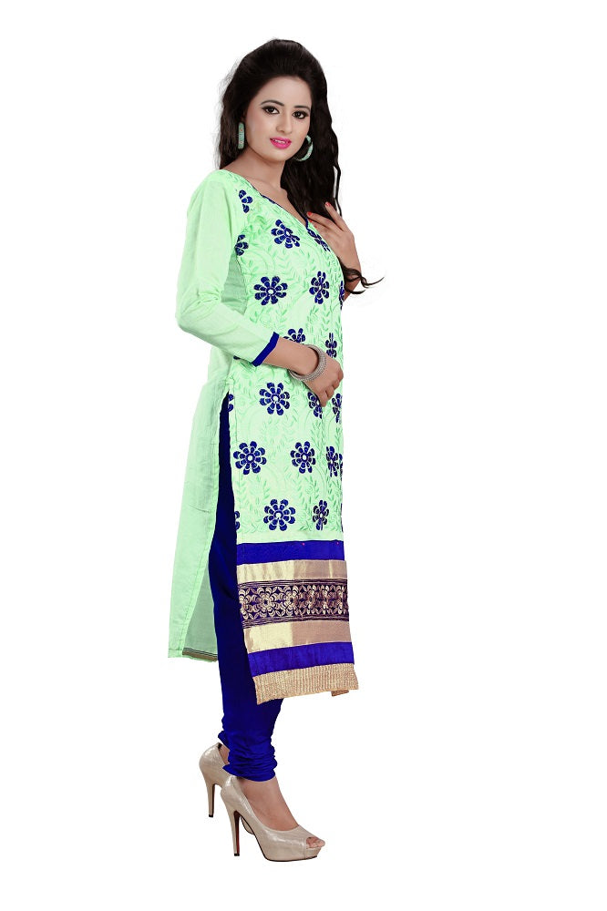 Womens Designer Light Green Chanderi Partywear Salwar Suit Dress Material For Womens