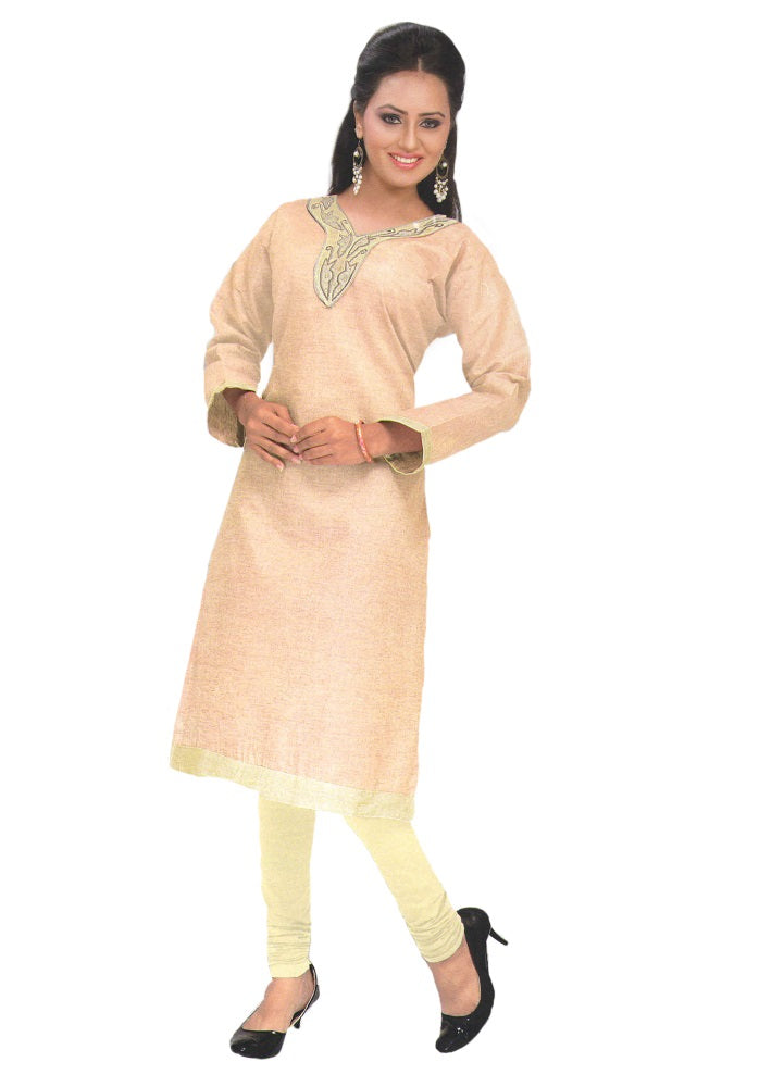 Peach Designer Embroidered Neck Women's  Kurta