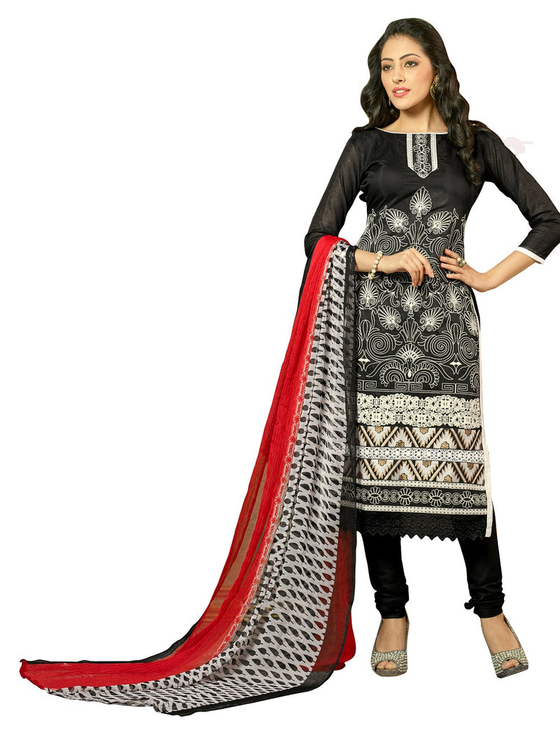 Women's Black Bhagalpuri Salwar Suit Material With Embroidery