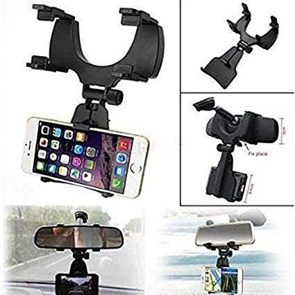 Mobile Car Rear View Mirror Mount Holder or Stand (Black) Free Size Easy Mounting / Installation