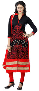Women's Women's Cotton Embroidered Dress Material (MDMHK02 Black)
