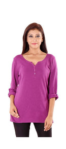 Cotton Plain 3/4 Sleeve Top