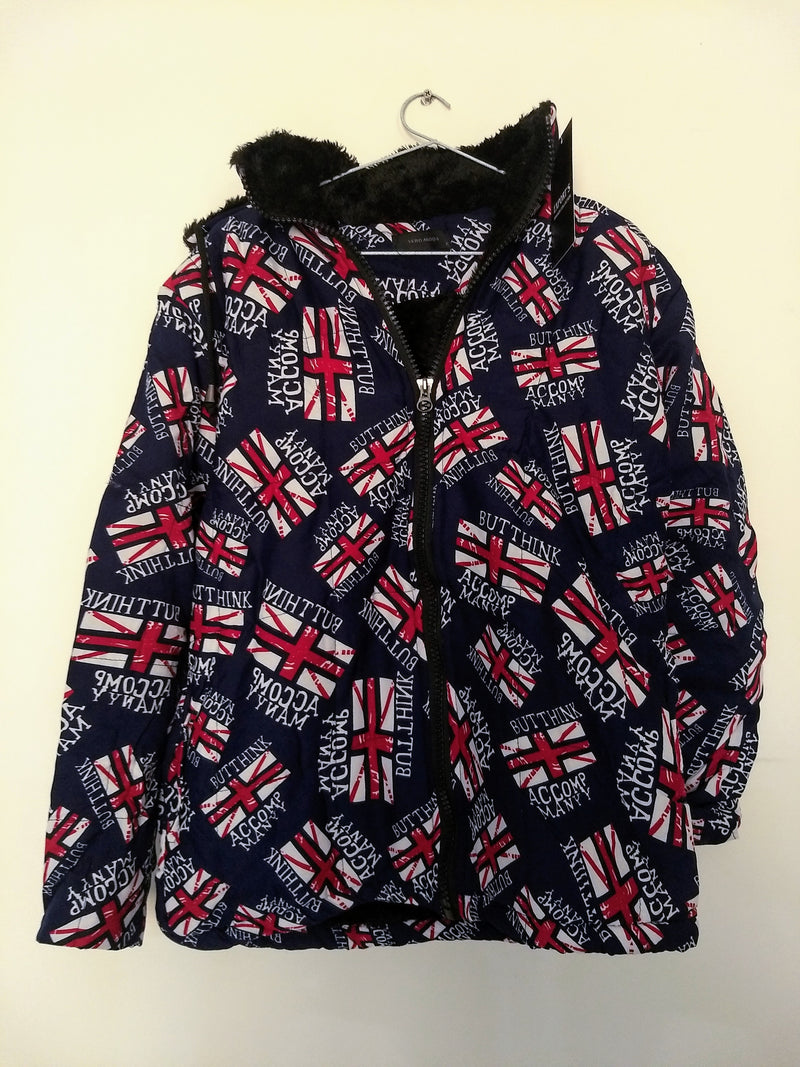 Kids Winter Blue Jacket With Text & English Flag - RMKJ005200001BEF-1