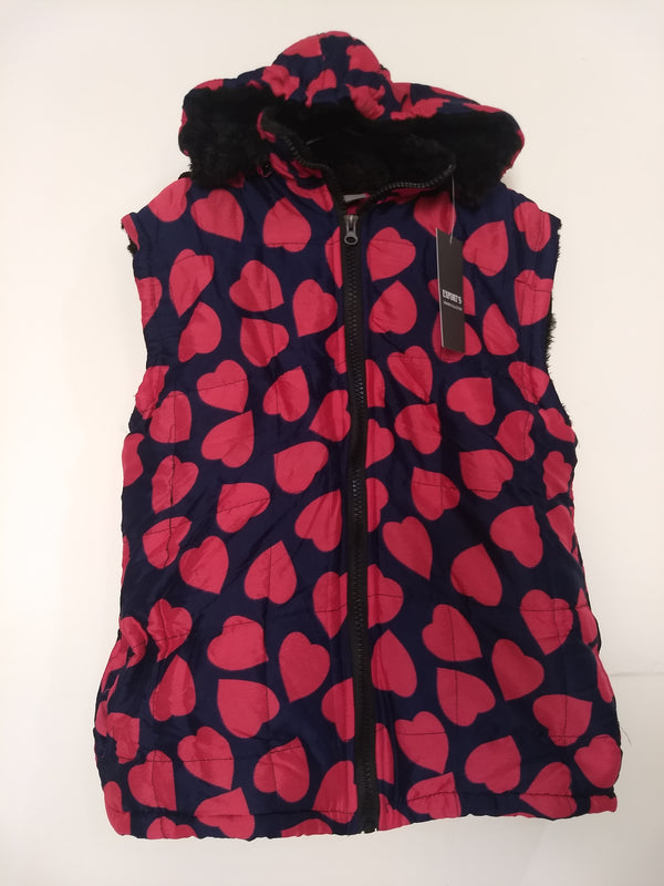 Half Sleeves Girl's Heart Shape Printed Blue Winter Jacket - RMKJ002200001BRH-1
