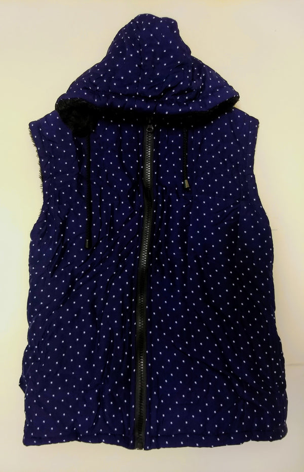 Girl's Blue Hood Jacket With Small White Stars  -  RMKJ002200001BS-1