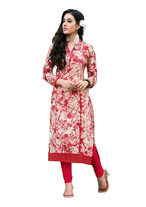 Red Cotton Printed Chinese Collar Long Kurti