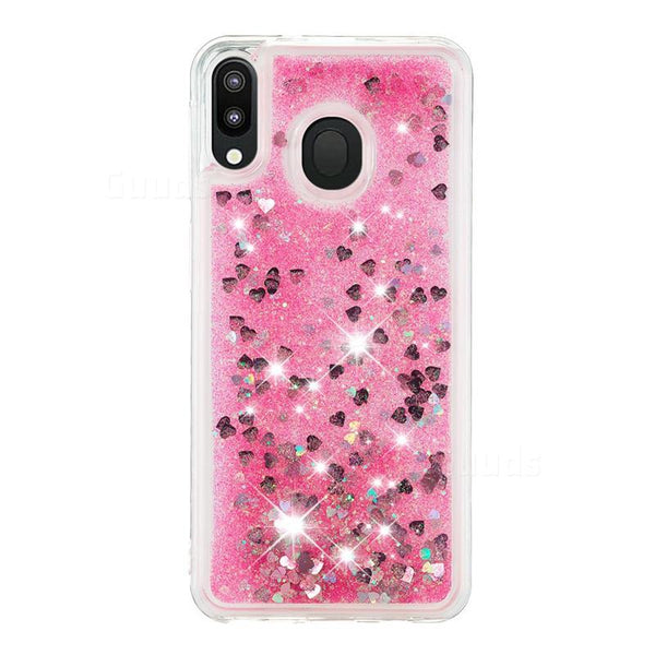 Liquid Flowing 3D Bling Glitter Star Transparent Soft Back Cover for Samsung Galaxy M20 - Pink/Red/Purple/Golden - AHLG000500010LGSM20C