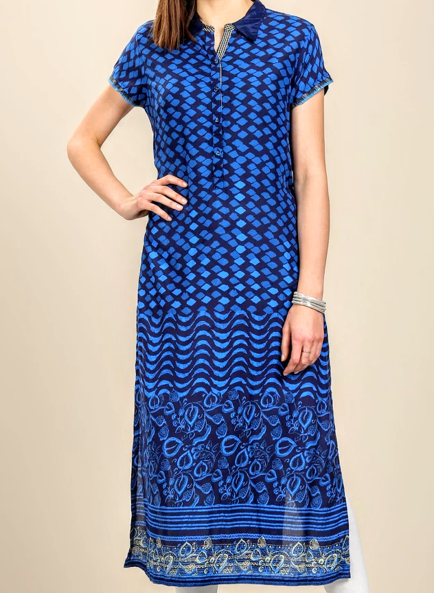Women Blue Printed Straight Kurta - MKBIBAK000003INDIGO12027